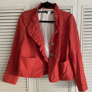 J Crew Tweed Orange Blazer